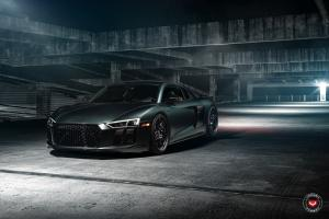 Audi R8 V10 Matte Black on Vossen Wheels (ML-R3) 2017 года