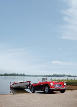 Austin-Healey 100-6 with Healey Ski-Master Speedboat 1959 года