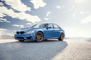 2016 BMW M3 Sedan Sky Blue on Vorsteiner Wheels (V-FF 101)