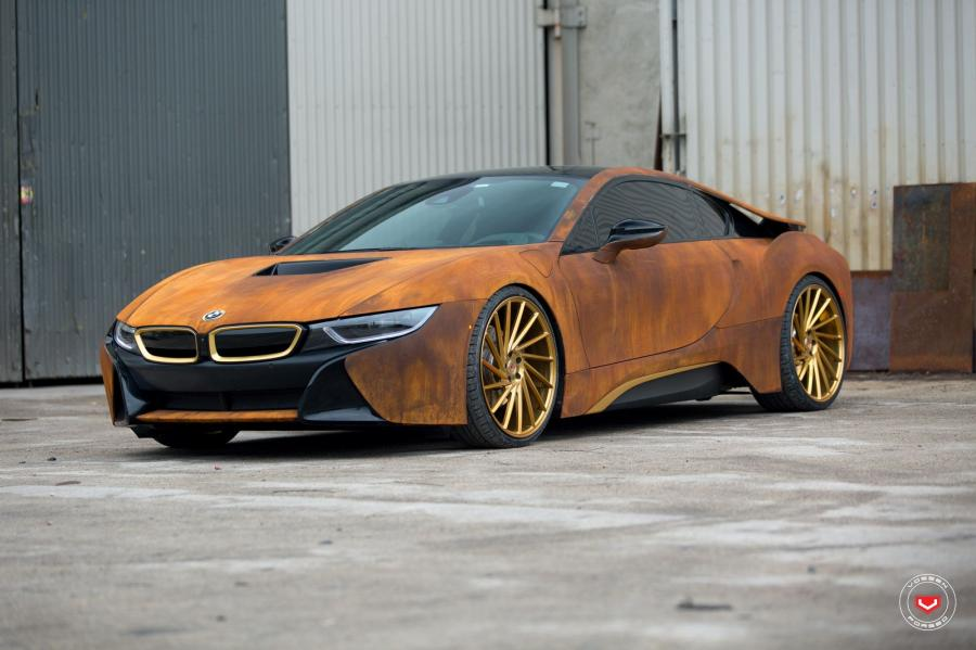 BMW i8 Austin Mahone Rusted by MetroWrapz on Vossen Wheels (VPS-305T)