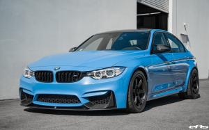 2017 BMW M3 Sedan Yas Marina Blue by EAS on Volk Racing Wheels
