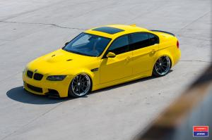 2017 BMW M3 Sedan in Yellow X Work on Vossen Wheels (VWS-1)