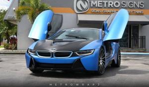 2017 BMW i8 Satin Perfect Blue by MetroWrapz