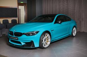 BMW M4 Coupe in Miami Blue with M Performance Body Kit by Abu Dhabi Motors 2018 года