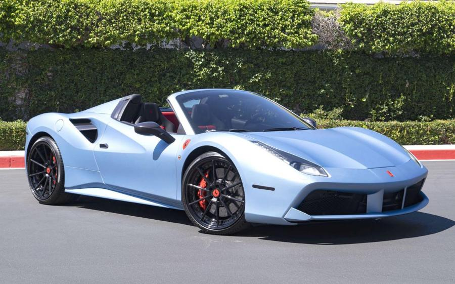 2019 Ferrari 488 Spider Matte Blue on Forgiato Wheels (TEC 2.4)