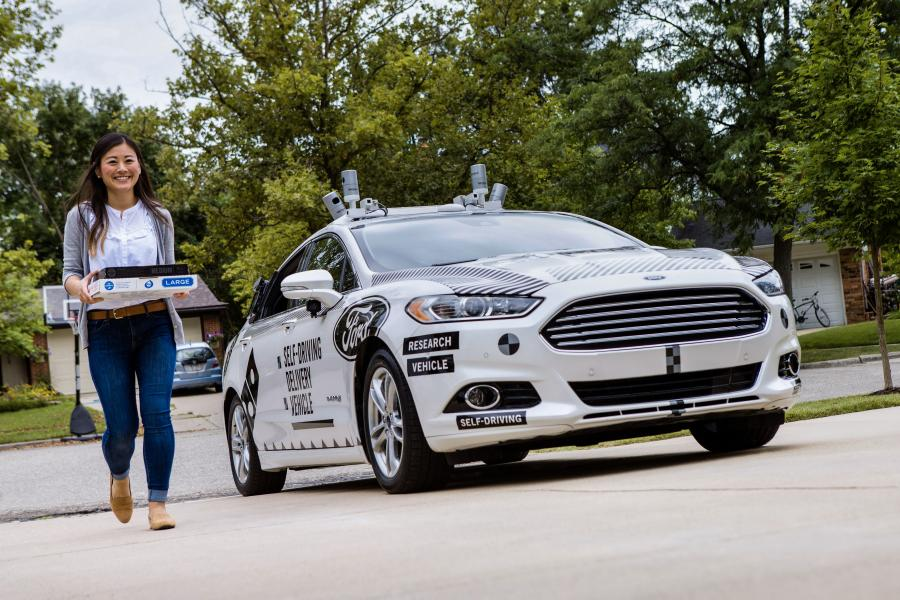 Ford Fusion Hybrid Self-Driving Domino's Pizza Delivery Vehicle '2017