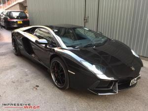 Lamborghini Aventador LP700-4 Gloss Metallic Black by Impressive Wrap 2017 года