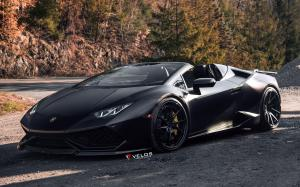 Lamborghini Huracan LP610-4 Spyder Matte Black on Velos Wheels (VLS01) 2019 года