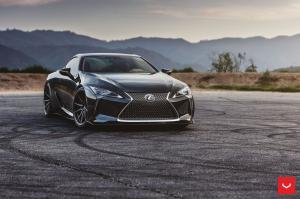 2019 Lexus LC500 Obsidian on Vossen Wheels (HF-3)
