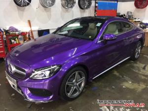 Mercedes-Benz C250 Coupe Gloss Metallic Purple by Impressive Wrap 2016 года
