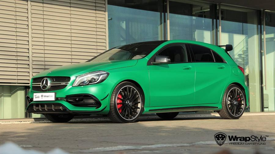 Mercedes-AMG A45 in Satin Sheer Lucky Green by WrapStyle