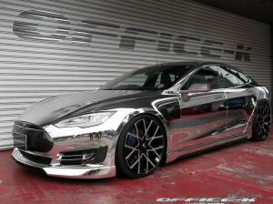 Tesla Model S in Chrome by Office-K on Forgiato Wheels (Insetto-ECL)